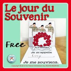 FREE Le jour du Souvenir - French Remembrance Day - Pop-up card French Teaching Resources, Teaching Themes, Teaching French, Remembrance Day Activities, High School French, Halloween Words, Remember Day, Free In French, Core French