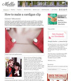 Vivid Please: Our Top 10 Achievements 2013 Mollie Makes feature our Cardigan clips / collar clips tutorial #diy
