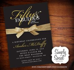 Surprise Fifty And Fabulous Th Th Th Th Birthday Party Invitation With Gold Glitter Ribbon Th