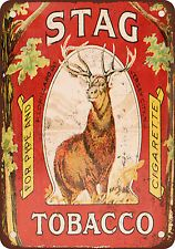 Stag Pipe and Cigarette Tobacco Vintage Look Reproduction Metal Sign