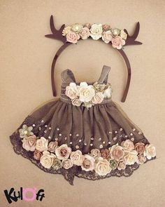 Little deer Flowers dress Set – – Little deer Flowers dress Set by kuloft on E… - Stofftiere Baby Girl Party Dresses, Little Girl Dresses, Baby Dress, Dress Set, Doll Clothes Patterns, Doll Patterns, Baby Girl Fashion, Kids Fashion, Flower Dresses
