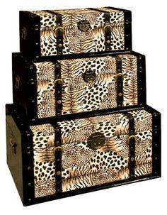 Animal Print trunks Animal Print Furniture, Animal Print Decor, Animal Print Fashion, Animal Prints, Safari Home Decor, Safari Decorations, Safari Room, African Home Decor, Decoration Originale
