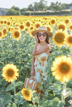Retro look in field of sunflowers, via Extra Petite.