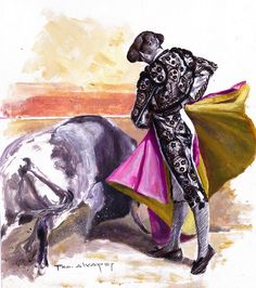 Tinta y acrílico sobre papel Bull Tattoos, Landscape Paintings, Spanish, Oil, Watercolor, School, Spanish Culture, Running, Paper
