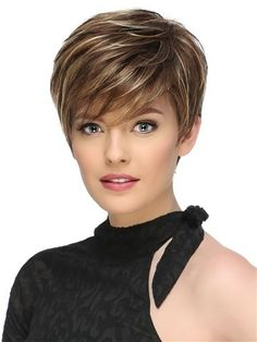 Short Fluffy Brown Mix Blonde Hair Wigs with Bangs Heat Resistant Synthetic Hair Capless Wig - Hairstyles For Women Short Hairstyles For Thick Hair, Short Grey Hair, Short Hair With Layers, Wig Hairstyles, Curly Hair Styles, Haircut Short, Fashion Hairstyles, Short Hair Cuts For Women Over 50, Hairstyles 2016