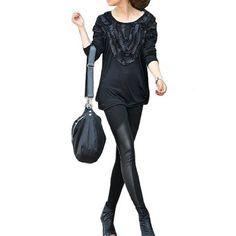 Allegra K Lady Elastic Waist Faux Leather Splice Design Stretch Skinny Slim Leggings Black L Allegra K. $9.99