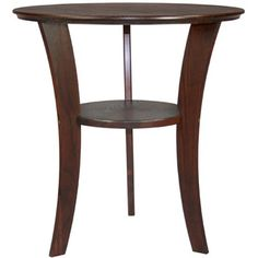 @ Penny Short Manchester Wood Contemporary Round End Table in Chestnut