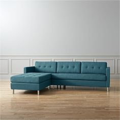 CB2 Ditto Peacock Sectional Sofa featuring polyvore, home, furniture, sofas, tufted sofa, tufted chaise, cb2, right arm chaise and tufted loveseat