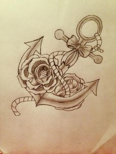 anchor and roses with bow