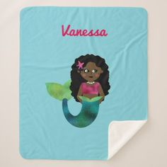 Personalized Girls Black Mermaid Faux Foil Fin Sherpa Blanket - black gifts unique cool diy customize personalize