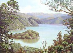 Check out Lake Okataina and Mt Tarawera by Jeanette Blackburn at New Zealand Fine Prints New Zealand Mountains, Wildlife Paintings, Abstract Paintings, Mountain Pictures, New Zealand Landscape, New Zealand Art, Nz Art, Kiwiana, China Dolls