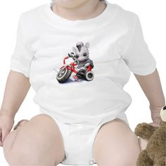 "This infant onsie bodysuit features a cute baby ""biker"" zebra riding a red tricycle."