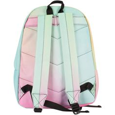 Hype Multi Pastel Gradient Fade Logo Backpack (£25) ❤ liked on Polyvore featuring bags, backpacks, pastel bag, green backpack, day pack backpack, backpack bags and knapsack bag