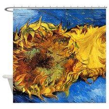 Van Gogh Two Cut Sunflowers Shower Curtain