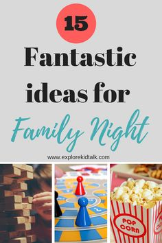 Family time is so important not to lose sight of.  With working different hours, sports, homework, and life in general that sometimes days just get away from you. It's necessary to remember that quality family time is essential to keeping families close. Simple and fun family night ideas that you can enjoy together. #familyactivities #familynight #familytime www.explorekidtalk.com