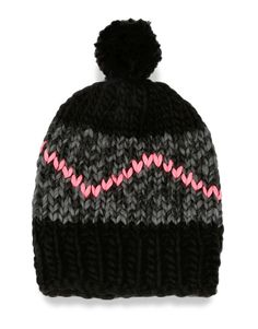 The Zion Lion hat is a signature Wool and the Gang style, made unique by The Gang in Shacklewell Grey and Space Black with Fluoro Pink zigzag.  Made with our Peruvian Crazy Sexy Wool.  One size fits most.