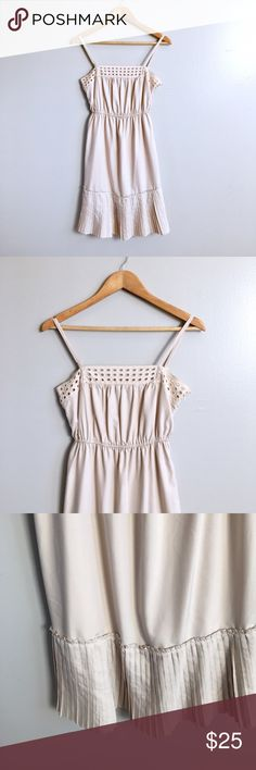 """ModCloth Summer Dress Cute cream dress, re-poshing because it didn't fit, great condition, adjustable straps, elastic waist, pleated hem, eyelet chest detail, 16"""" across chest, 32"""" shoulder to hem, fully lined. Pictures fr original listing. ModCloth Dresses"""