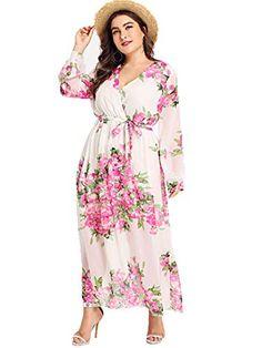 a25795a460 Floerns Women s Plus Size V Neck Long Sleeve Tie Waist Floral Maxi Wrap  Dress White 3XL