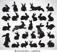 Vector - rabbit silhouettes - stock illustration, royalty free illustrations, stock clip art icon, stock clipart icons, logo, line art, EPS picture, pictures, graphic, graphics, drawing, drawings, vector image, artwork, EPS vector art Easter clipart ideas