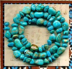 "Southwest Kingman Mine Turquoise Beads Blue Green Natural 16"" Strand Graduated   eBay"