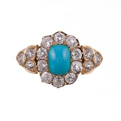Victorian Turquoise & Old European Cut Diamond Cluster Ring