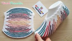 Colorful striped pocket boots with two skewers / boots with two skewers … – Socken Stricken Knitting Blogs, Loom Knitting, Knitting Socks, Knitting Designs, Knitting Stitches, Knit Shoes, Crochet Shoes, Knitted Slippers, Knitted Hats