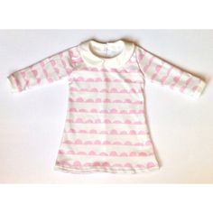 Pink Scallop Organic Long Sleeve Collared Dress