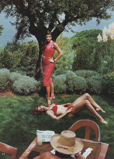 "Vogue US December 1991  ""Brief Encounter""  Models: Helena Christensen & Cindy Crawford  Photographer: Helmut Newton  Stylist: Grace Coddington"