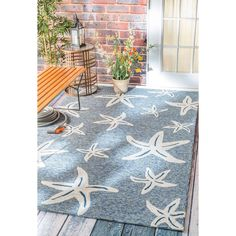 nuLOOM Handmade Coastal Starfish Indoor/ Outdoor Dark Blue Rug (8' x 10') by…