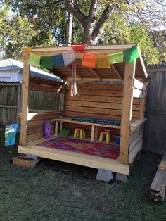 Thank you Pinterest! This is the finished (simple, low-cost) playhouse we had built for our daughter -- incorporating many different ideas I found on Pinterest. It would be a wonderful DIY project for someone handy (sadly, we're not). It took two people a day and a half to build from start to finish. We used pressure treated lumber for the deck and support posts, and reclaimed cedar for the siding and roof. (no link, just our photo)