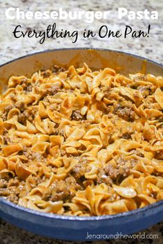 One Pan Cheeseburger Pasta tastes like the Hamburger Helper you grew up on but SO MUCH better! It takes less than 25 minutes to get this dinner on the table and the best part? It's all cooked in one pan. Cheeseburger Pasta, Hamburger Helper, Macaroni And Cheese, Pasta Dishes, Easy Meals, Canning, Ethnic Recipes, Food, Mac And Cheese