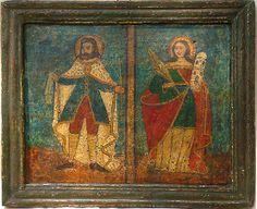 """Retablo """"San Luís de Francia Y Santa Bárbara"""" Colonial venezolano. Siglo XVII. Óleo y tempera/tabla. 34 x 28 cms."""