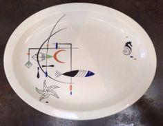 4 Wallace China Palisades Atomic 50's Googie Fish Seahorse Mobile Platter Plates