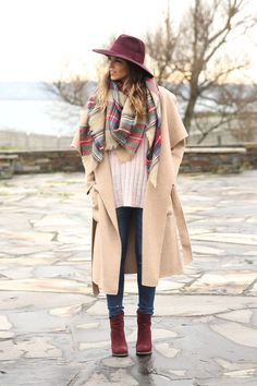 Camel Coat, Hat, Plaid Scarf, Suede Boots