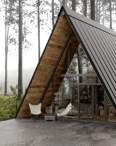 A Modern Wooden A-Frame Cabin in Lake Tahoe, California — THE NORDROOM A Frame House Plans, A Frame Cabin, Architecture Visualization, Architecture Design, Cabin Design, House Design, Mini Chalet, Ideas Cabaña, Triangle House