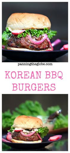 Korean BBQ Burgers with quick and easy pickled onions and radishes ...