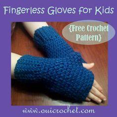Fingerless Gloves For Kids {Free Crochet Pattern} www.ouicrochet.com