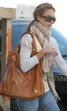 The bag, the scarf, the color scheme! Love it.