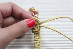 I Spy DIY Shows Us How To Make The Coolest Chain Bracelet, Ever #refinery29  http://www.refinery29.com/diy-chain-bracelet#slide-16  Step 15: Knot your rope to secure to the chain. Dab a bit of super glue on the knot to hold.Photo: Courtesy of Jenni Radosevich...