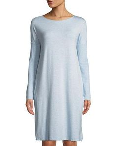 Hanro Natural Elegance Long-Sleeve Nightgown with Pockets 5797ea802
