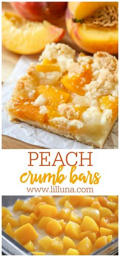 Peach Crumb Bars are one of our favorite summer treats! They're made from a buttery crust layered with juicy peaches and a crumbly topping. #peachcrumbbars #crumbbars #peachbars #peachdesserts #desserts 13 Desserts, Fall Dessert Recipes, Delicious Desserts, Baking Desserts, Summer Recipes, Baking Recipes, Cookie Recipes, Espresso Dessert, Canned Peaches