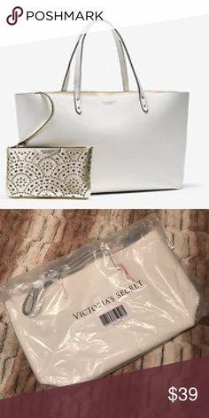BNIB VS Tote & Bikini Bag Brand new in packaging Victoria's Secret white faux leather tote with bikini bag. Offers welcome via Offer button feature. Victoria's Secret Bags Totes