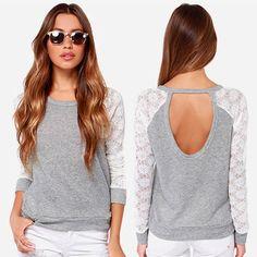 Neu Damen Frauen Sexy Rückenfrei Bluse Rundhals Langarm Oberteil Tunika Top Hemd in Kleidung & Accessoires, Damenmode, Blusen, Tops & Shirts | eBay