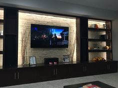 Living room tv wall decor ideas fire places Ideas for 2019 Basement Living Rooms, Modern Basement, New Living Room, Living Room Modern, Basement Bathroom, Niche Design, Tv Wall Design, Fireplace Tv Wall, Living Room With Fireplace