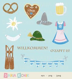 Oktoberfest Clip Art Set-Oktoberfest clipart, pretzel, dirndl dress, gingerbread heart, for invitations, eps, png, jpeg, instant download