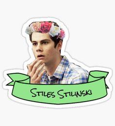 stiles stilinski flower crown sticker Sticker