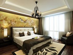 Sophisticated and authentic Asian themed bedroom