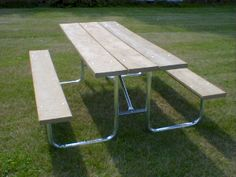 The 166 Series picnic table is our most popular and is available in a variety of colors and configurations. From the recycled plastic seats and top, to the heavy duty steel frame, it is sturdy, durable, economical and extremely functional. Picnic Tables, Metal Projects, Steel Frame, Plank, Recycling, Popular, Traditional, Colors, Wood