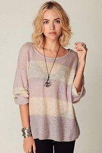 Free People Wide Stripe Pullover in Pink Frost