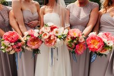 Bright Pink Peony Bouquets | Jesús Peiró Gown | Morgan Davis Bridal | The Chainstore, Trinity Buoy Wharf | London River Thames | Coast Bridesmaid Gowns | Hey Style Props | Babb Photo | http://www.rockmywedding.co.uk/katie-tommy/